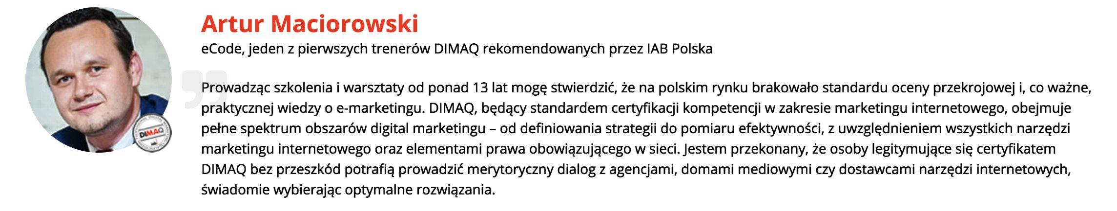 Artur Maciorowski trener IAB DIMAQ