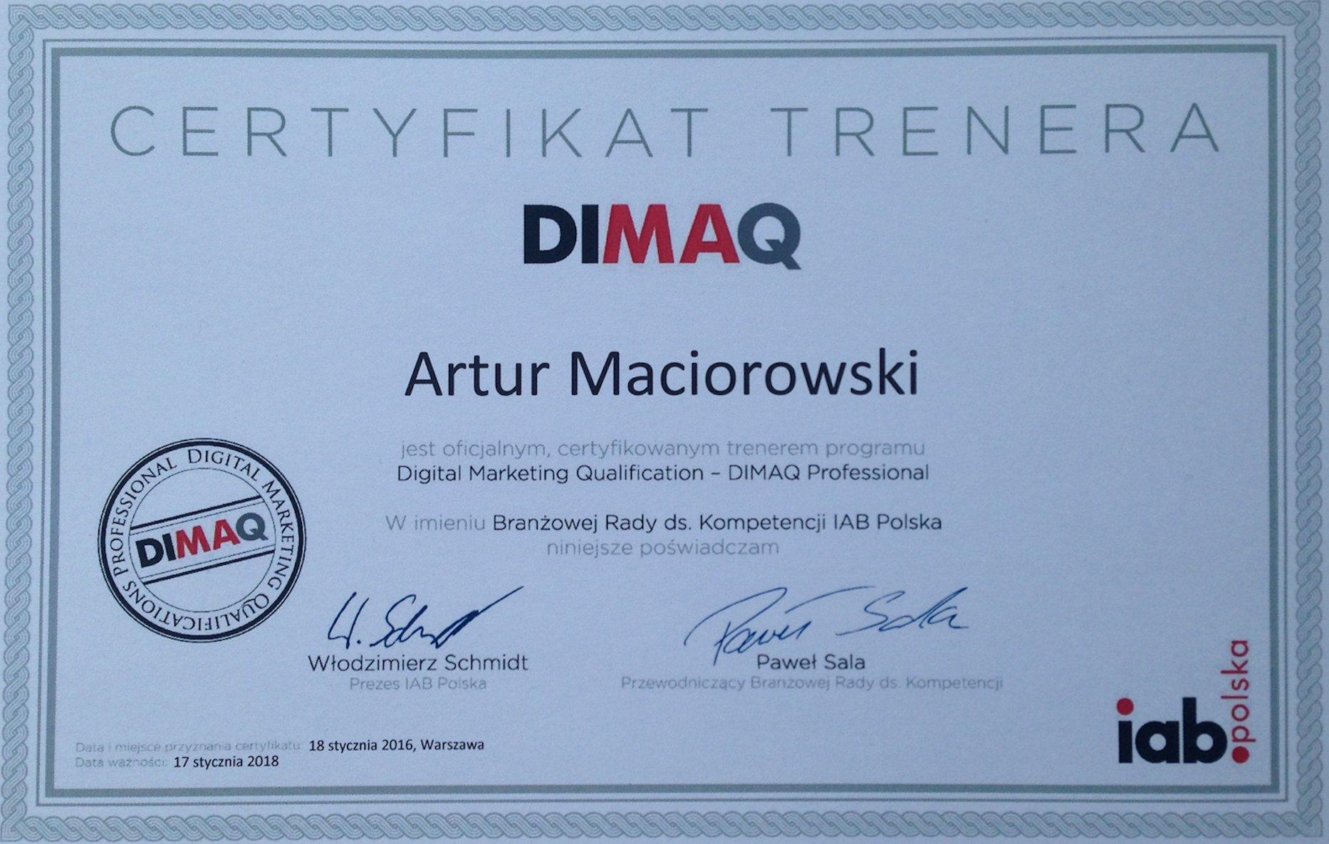 DIMAQ IAB trener certyfikowany Artur Maciorowski