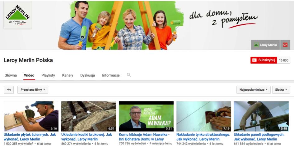 Leroy Merlin - kanał poradnikowy na YouTube